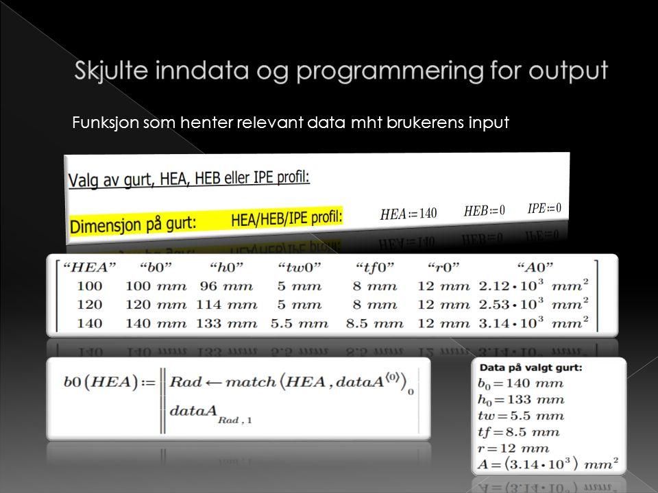 Funksjon som henter relevant data mht brukerens input