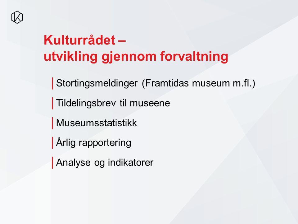 Kulturrådet – utvikling gjennom forvaltning │Stortingsmeldinger (Framtidas museum m.fl.) │Tildelingsbrev til museene │Museumsstatistikk │Årlig rapport