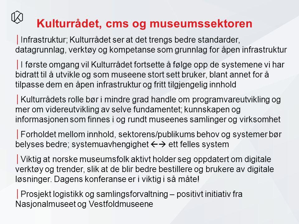 Kulturrådet, cms og museumssektoren │Infrastruktur; Kulturrådet ser at det trengs bedre standarder, datagrunnlag, verktøy og kompetanse som grunnlag f
