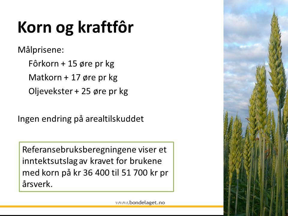 Korn og kraftfôr Målprisene: Fôrkorn + 15 øre pr kg Matkorn + 17 øre pr kg Oljevekster + 25 øre pr kg Ingen endring på arealtilskuddet Referansebruksb