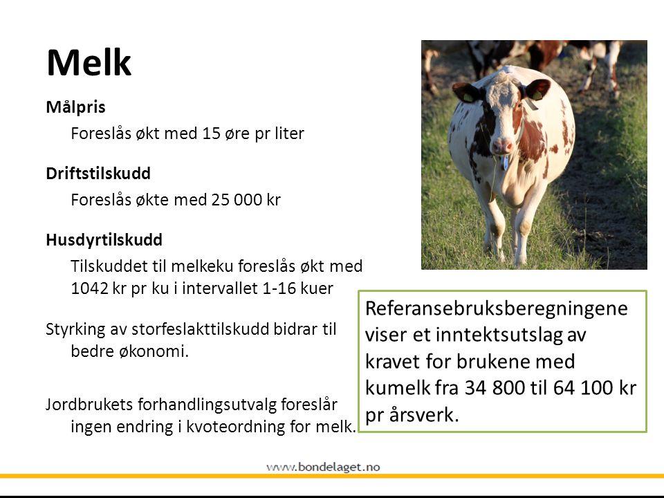 Melk Målpris Foreslås økt med 15 øre pr liter Driftstilskudd Foreslås økte med 25 000 kr Husdyrtilskudd Tilskuddet til melkeku foreslås økt med 1042 k