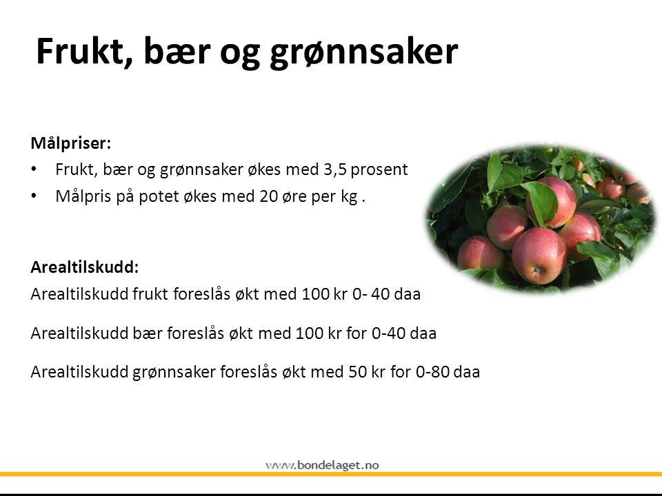 Frukt, bær og grønnsaker Målpriser: • Frukt, bær og grønnsaker økes med 3,5 prosent • Målpris på potet økes med 20 øre per kg. Arealtilskudd: Arealtil