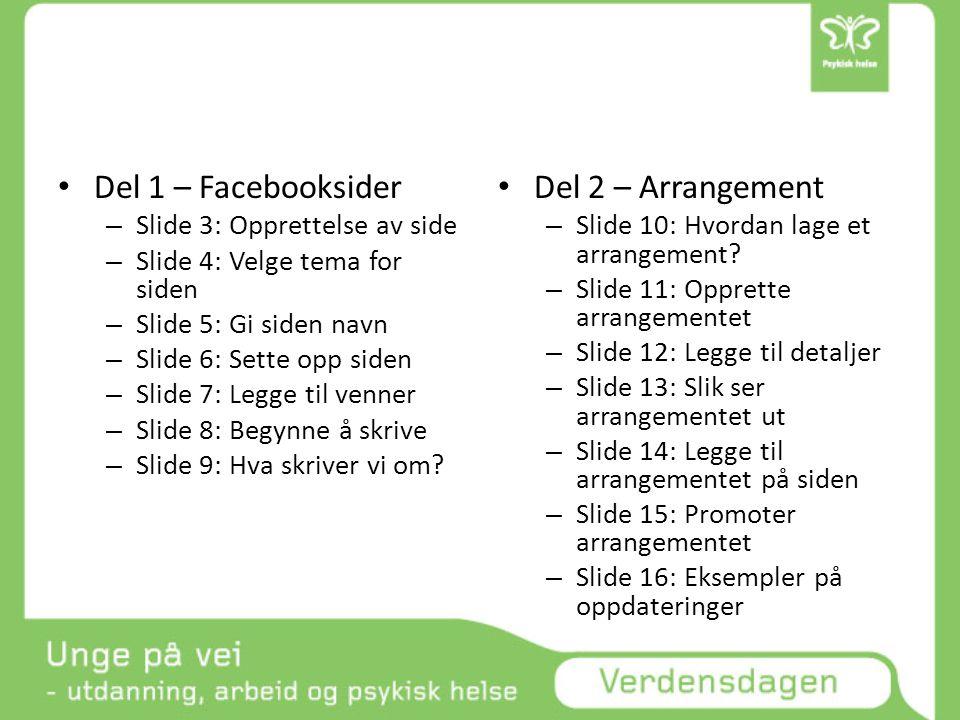 • Del 1 – Facebooksider – Slide 3: Opprettelse av side – Slide 4: Velge tema for siden – Slide 5: Gi siden navn – Slide 6: Sette opp siden – Slide 7: Legge til venner – Slide 8: Begynne å skrive – Slide 9: Hva skriver vi om.