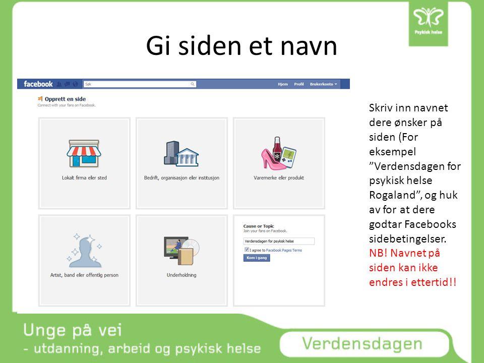 Gi siden et navn Skriv inn navnet dere ønsker på siden (For eksempel Verdensdagen for psykisk helse Rogaland , og huk av for at dere godtar Facebooks sidebetingelser.