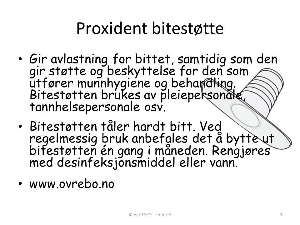Proxident bitestøtte • Gir avlastning for bittet, samtidig som den gir støtte og beskyttelse for den som utfører munnhygiene og behandling.