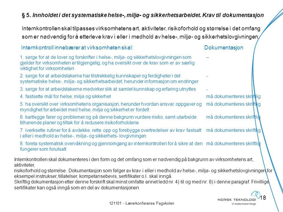 Internkontroll innebærer at virksomheten skal:Dokumentasjon 121101 - Lærerkonferanse Fagskolen 18 1.