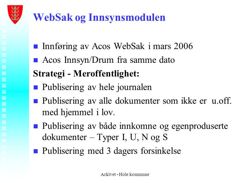 WebSak og Innsynsmodulen n n Innføring av Acos WebSak i mars 2006 n n Acos Innsyn/Drum fra samme dato Strategi - Meroffentlighet: n n Publisering av h