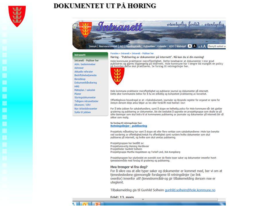 Foredragstittel - Ditt navn - Hole kommune DOKUMENTET UT PÅ HØRING