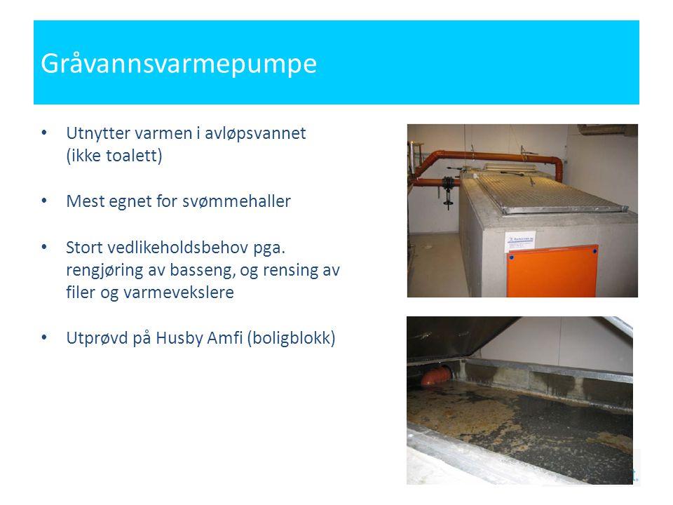 Gråvannsvarmepumpe • Utnytter varmen i avløpsvannet (ikke toalett) • Mest egnet for svømmehaller • Stort vedlikeholdsbehov pga.