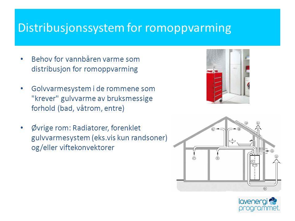 Distribusjonssystem for romoppvarming • Behov for vannbåren varme som distribusjon for romoppvarming • Golvvarmesystem i de rommene som krever gulvvarme av bruksmessige forhold (bad, våtrom, entre) • Øvrige rom: Radiatorer, forenklet gulvvarmesystem (eks.vis kun randsoner) og/eller viftekonvektorer
