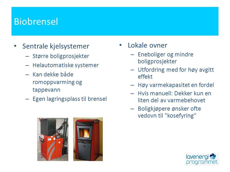 Biobrensel • Sentrale kjelsystemer – Større boligprosjekter – Helautomatiske systemer – Kan dekke både romoppvarming og tappevann – Egen lagringsplass til brensel • Lokale ovner – Eneboliger og mindre boligprosjekter – Utfordring med for høy avgitt effekt – Høy varmekapasitet en fordel – Hvis manuell: Dekker kun en liten del av varmebehovet – Boligkjøpere ønsker ofte vedovn til kosefyring