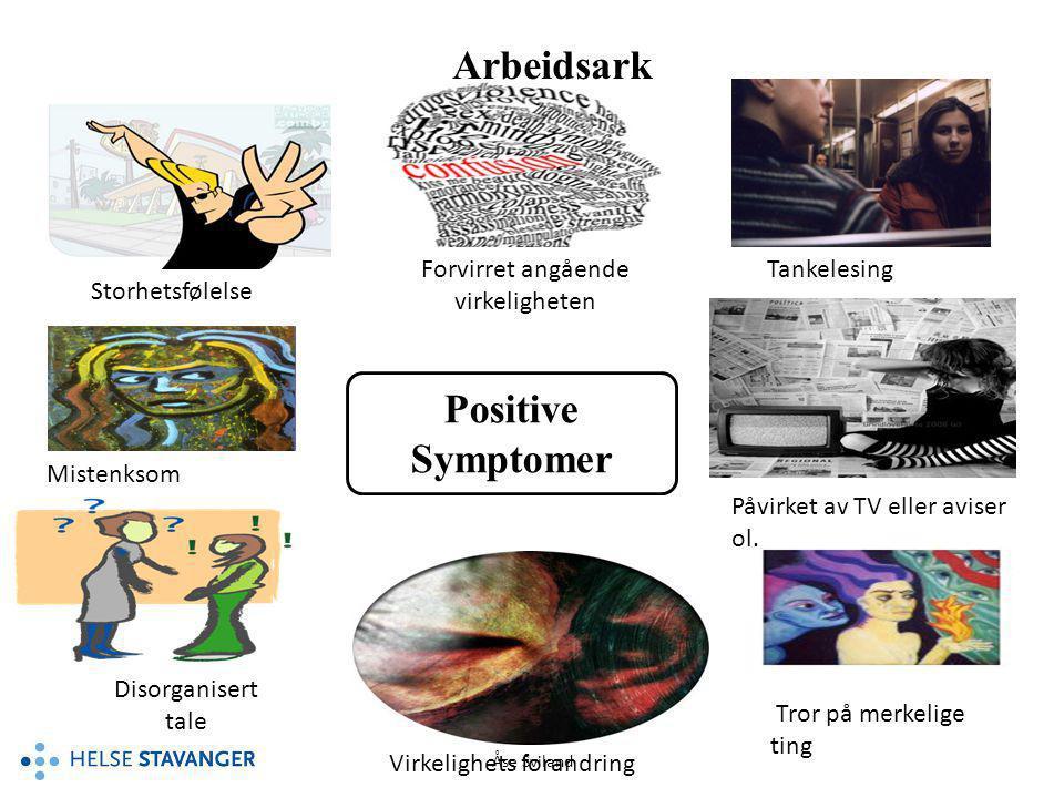 Åse Sviland Arbeidsark Positive Symptomer Storhetsfølelse Forvirret angående virkeligheten Tankelesing Mistenksom Disorganisert tale Påvirket av TV el