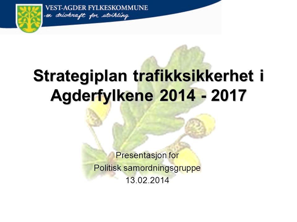 Strategiplan trafikksikkerhet i Agderfylkene 2014 - 2017 Presentasjon for Politisk samordningsgruppe 13.02.2014