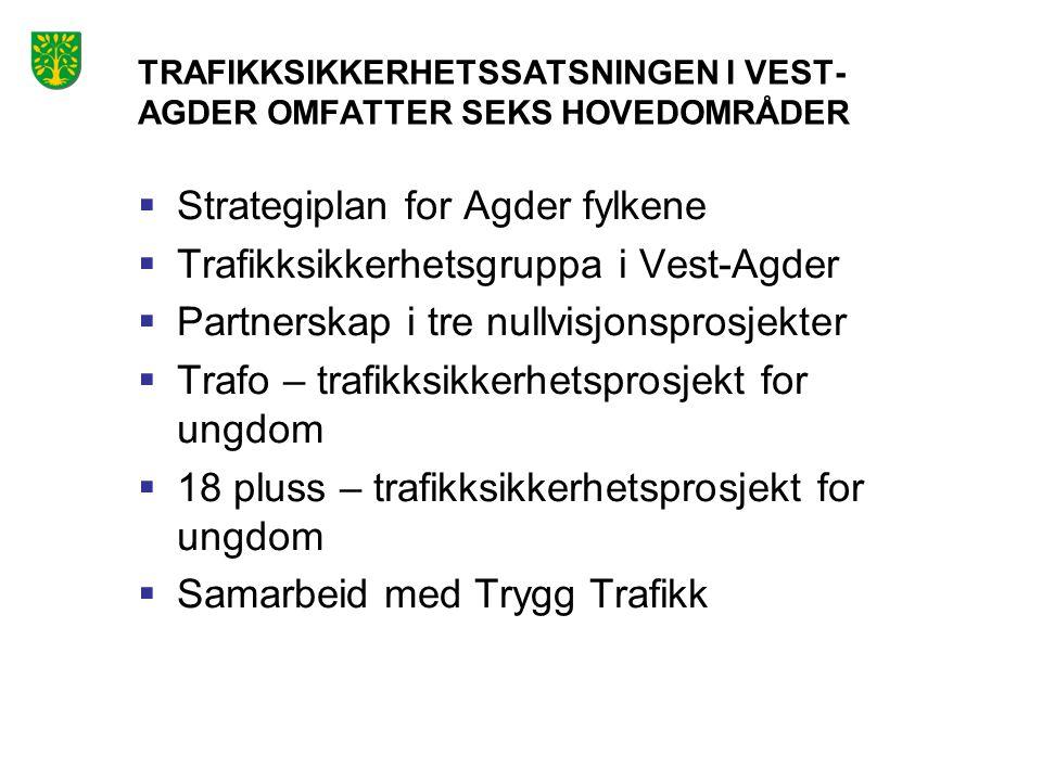 TRAFIKKSIKKERHETSSATSNINGEN I VEST- AGDER OMFATTER SEKS HOVEDOMRÅDER  Strategiplan for Agder fylkene  Trafikksikkerhetsgruppa i Vest-Agder  Partner