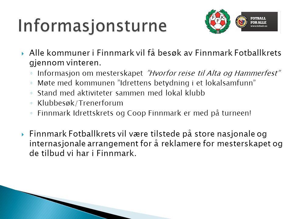 """ Alle kommuner i Finnmark vil få besøk av Finnmark Fotballkrets gjennom vinteren. ◦ Informasjon om mesterskapet """"Hvorfor reise til Alta og Hammerfest"""