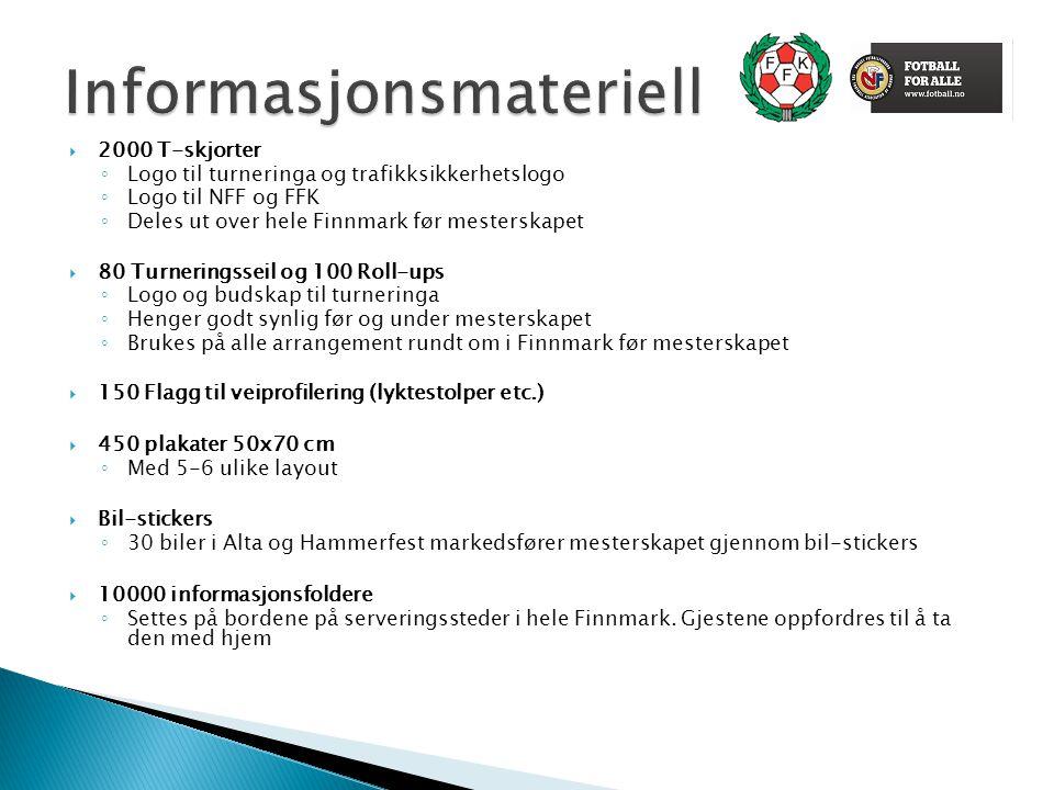  2000 T-skjorter ◦ Logo til turneringa og trafikksikkerhetslogo ◦ Logo til NFF og FFK ◦ Deles ut over hele Finnmark før mesterskapet  80 Turneringss