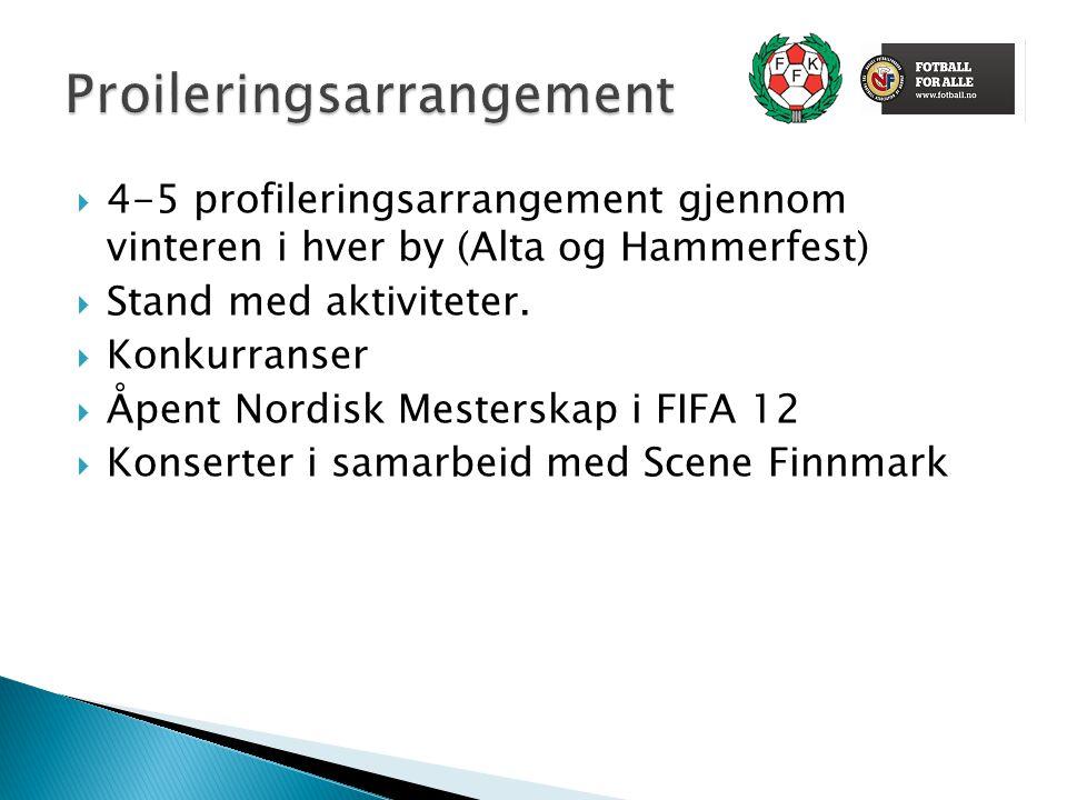  4-5 profileringsarrangement gjennom vinteren i hver by (Alta og Hammerfest)  Stand med aktiviteter.  Konkurranser  Åpent Nordisk Mesterskap i FIF