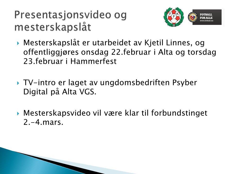  Mesterskapslåt er utarbeidet av Kjetil Linnes, og offentliggjøres onsdag 22.februar i Alta og torsdag 23.februar i Hammerfest  TV-intro er laget av