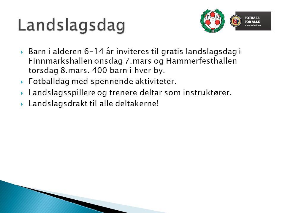  Barn i alderen 6-14 år inviteres til gratis landslagsdag i Finnmarkshallen onsdag 7.mars og Hammerfesthallen torsdag 8.mars. 400 barn i hver by.  F