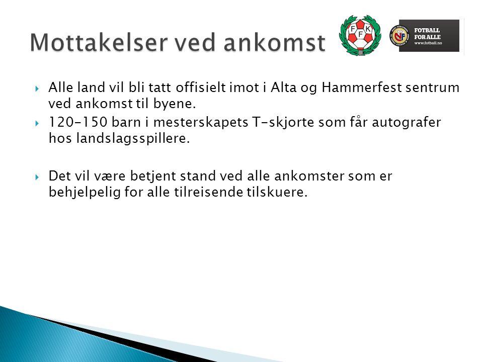  Alle land vil bli tatt offisielt imot i Alta og Hammerfest sentrum ved ankomst til byene.  120-150 barn i mesterskapets T-skjorte som får autografe