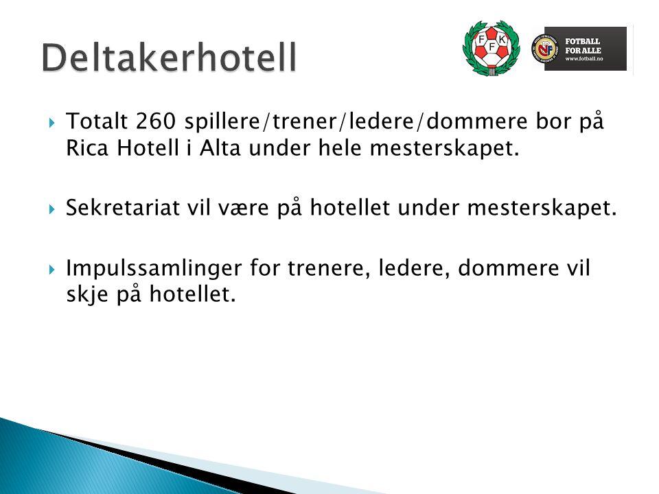  Totalt 260 spillere/trener/ledere/dommere bor på Rica Hotell i Alta under hele mesterskapet.  Sekretariat vil være på hotellet under mesterskapet.