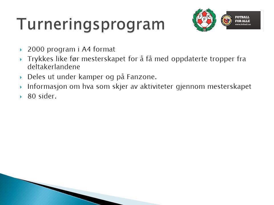  2000 program i A4 format  Trykkes like før mesterskapet for å få med oppdaterte tropper fra deltakerlandene  Deles ut under kamper og på Fanzone.