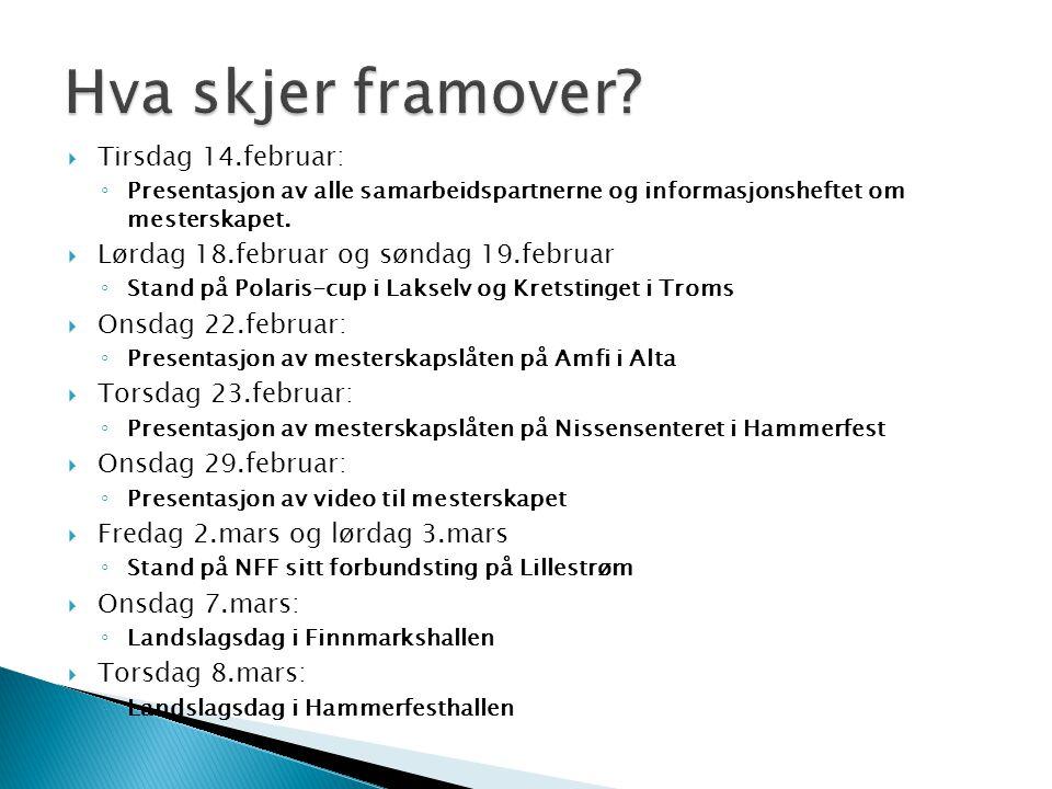  Tirsdag 14.februar: ◦ Presentasjon av alle samarbeidspartnerne og informasjonsheftet om mesterskapet.  Lørdag 18.februar og søndag 19.februar ◦ Sta