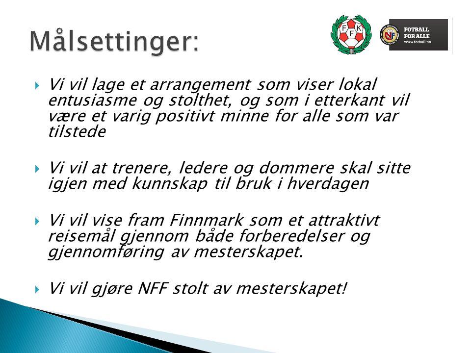  Finnmark Fotballkrets og Norges Fotballforbund har knyttet til oss samarbeidspartnere som ser verdien av å profilere seg gjennom dette mesterskapet, og som ønsker å bidra til lokal stolthet og internasjonal oppmerksomhet.