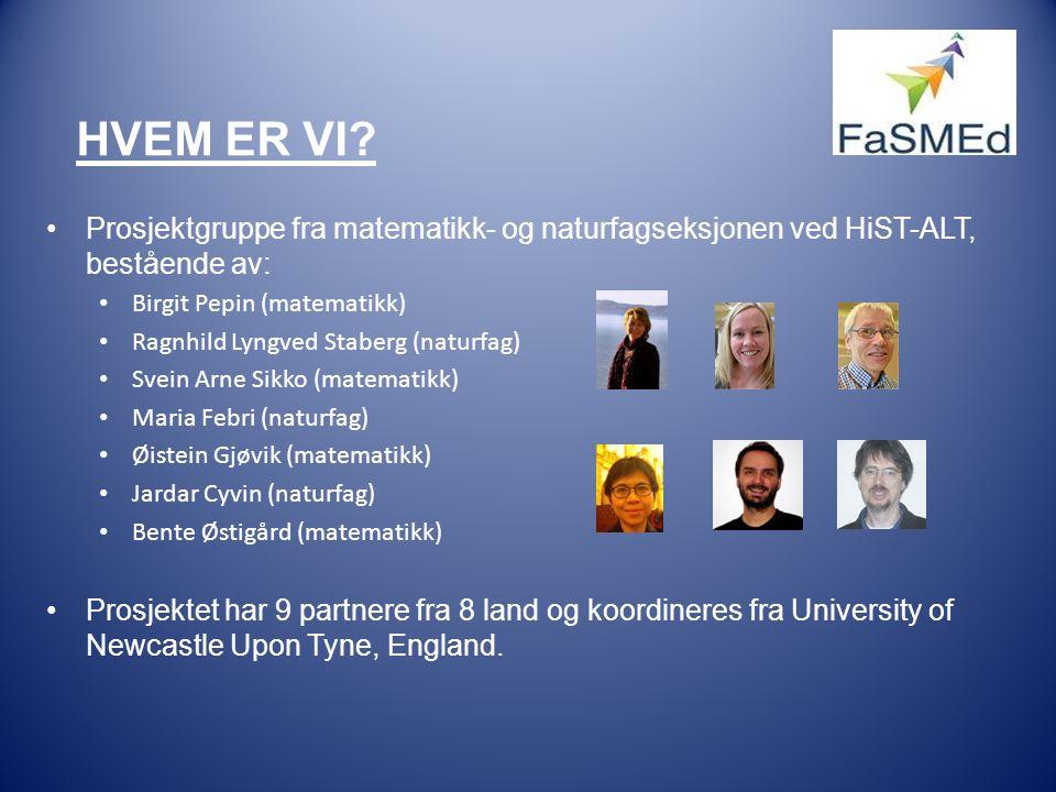 HVEM ER VI? •Prosjektgruppe fra matematikk- og naturfagseksjonen ved HiST-ALT, bestående av: • Birgit Pepin (matematikk) • Ragnhild Lyngved Staberg (n