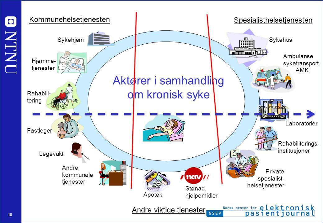 10 Private spesialist- helsetjenester Fastleger Sykehus Apotek Laboratorier Hjemme- tjenester Ambulanse syketransport AMK Kommunehelsetjenesten Spesia