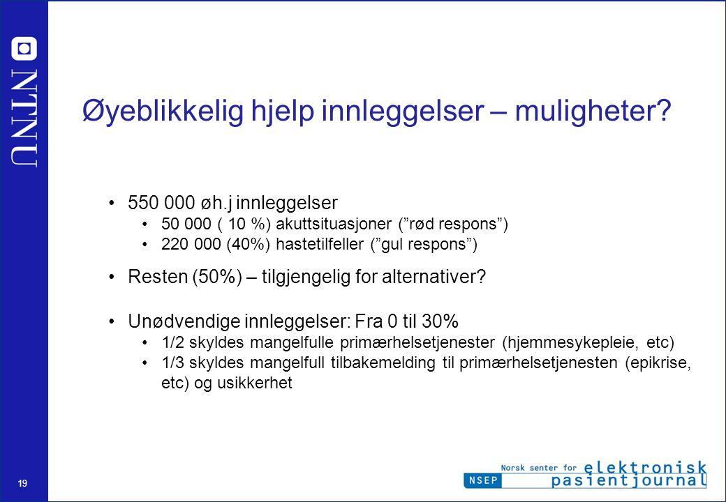 """19 Øyeblikkelig hjelp innleggelser – muligheter? •550 000 øh.j innleggelser •50 000 ( 10 %) akuttsituasjoner (""""rød respons"""") •220 000 (40%) hastetilfe"""