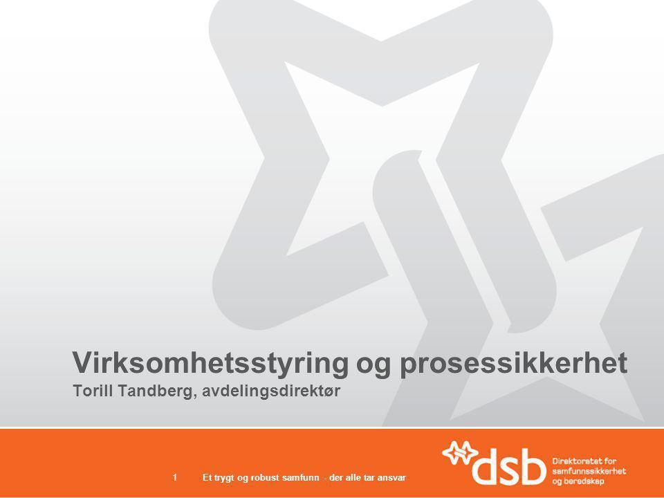 Et trygt og robust samfunn - der alle tar ansvar1 Virksomhetsstyring og prosessikkerhet Torill Tandberg, avdelingsdirektør