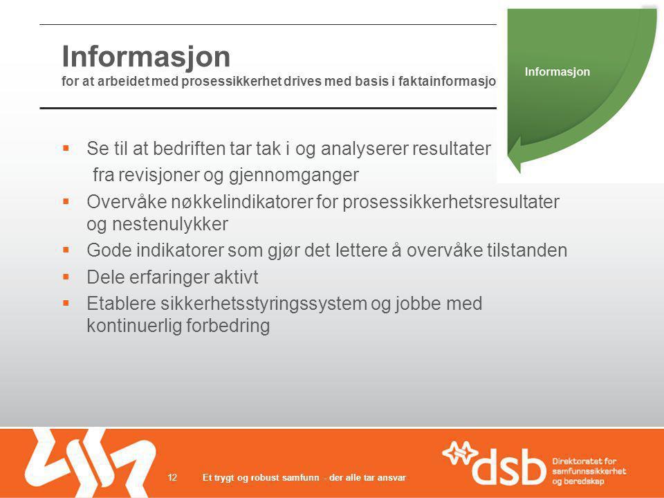 Informasjon for at arbeidet med prosessikkerhet drives med basis i faktainformasjon  Se til at bedriften tar tak i og analyserer resultater fra revis