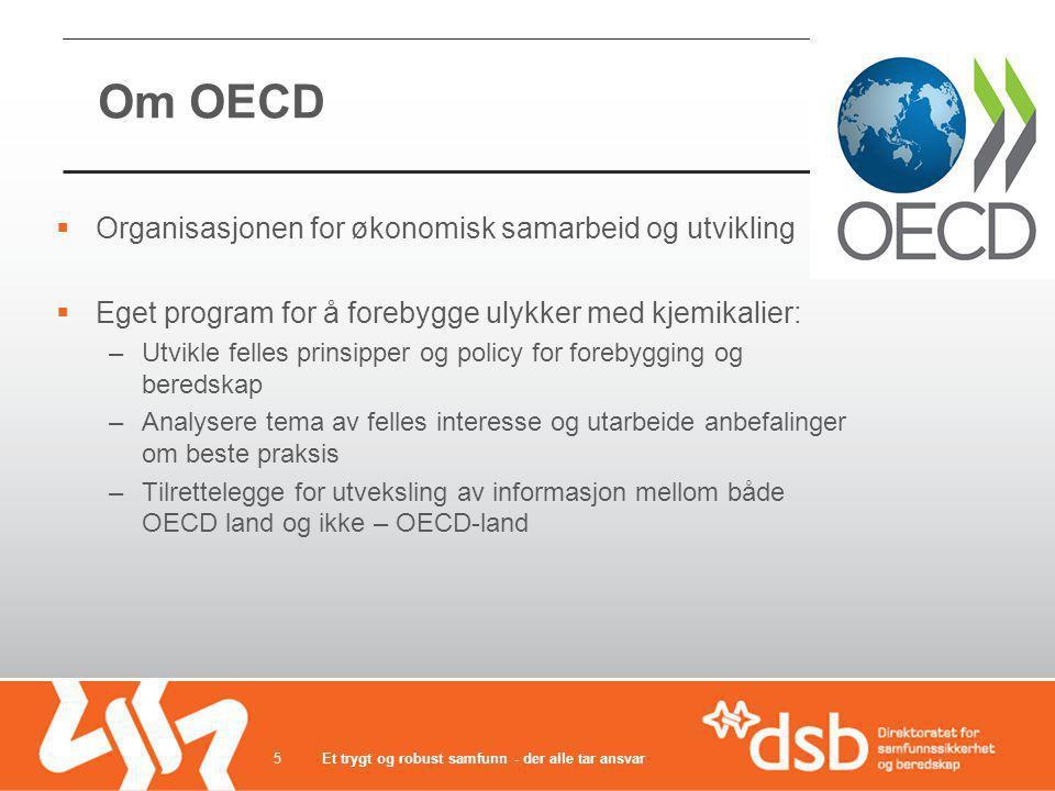 Om OECD  Organisasjonen for økonomisk samarbeid og utvikling  Eget program for å forebygge ulykker med kjemikalier: –Utvikle felles prinsipper og po