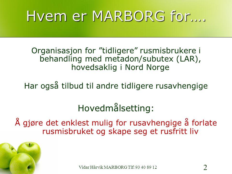 MedikamentAssistert Rehabiliterings BrukerOrganisasjon www.marborg.no 13 PS FR MP