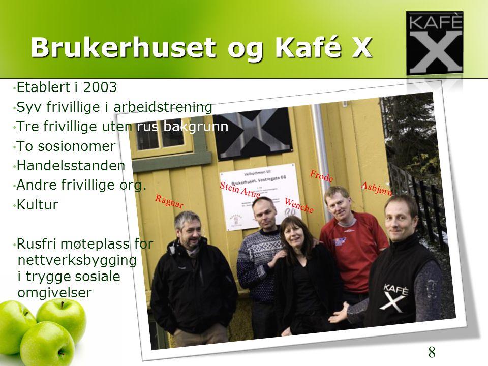 Brukerhuset og Kafé X Frode Ragnar Wenche Stein Arne Asbjørn 8 • Etablert i 2003 • Syv frivillige i arbeidstrening • Tre frivillige uten rus bakgrunn • To sosionomer • Handelsstanden • Andre frivillige org.