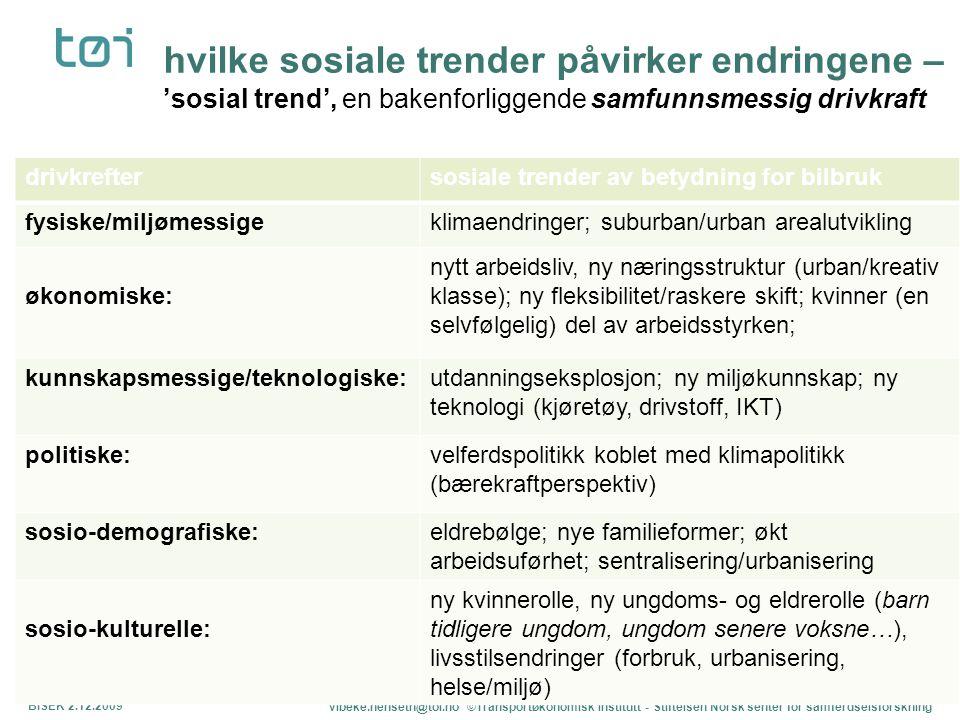 hvilke sosiale trender påvirker endringene – 'sosial trend', en bakenforliggende samfunnsmessig drivkraft BISEK 2.12.2009 vibeke.nenseth@toi.no ©Trans