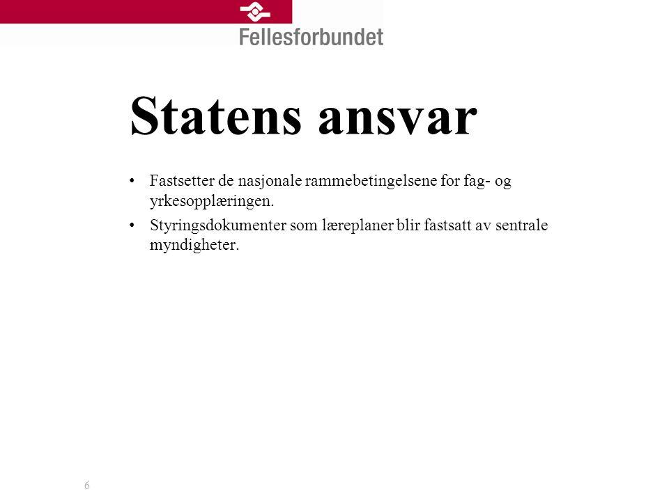 6 Statens ansvar • Fastsetter de nasjonale rammebetingelsene for fag- og yrkesopplæringen.