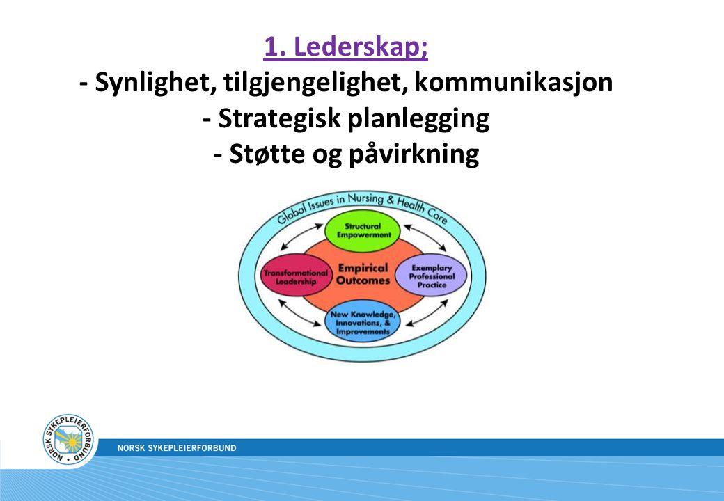 1. Lederskap; - Synlighet, tilgjengelighet, kommunikasjon - Strategisk planlegging - Støtte og påvirkning