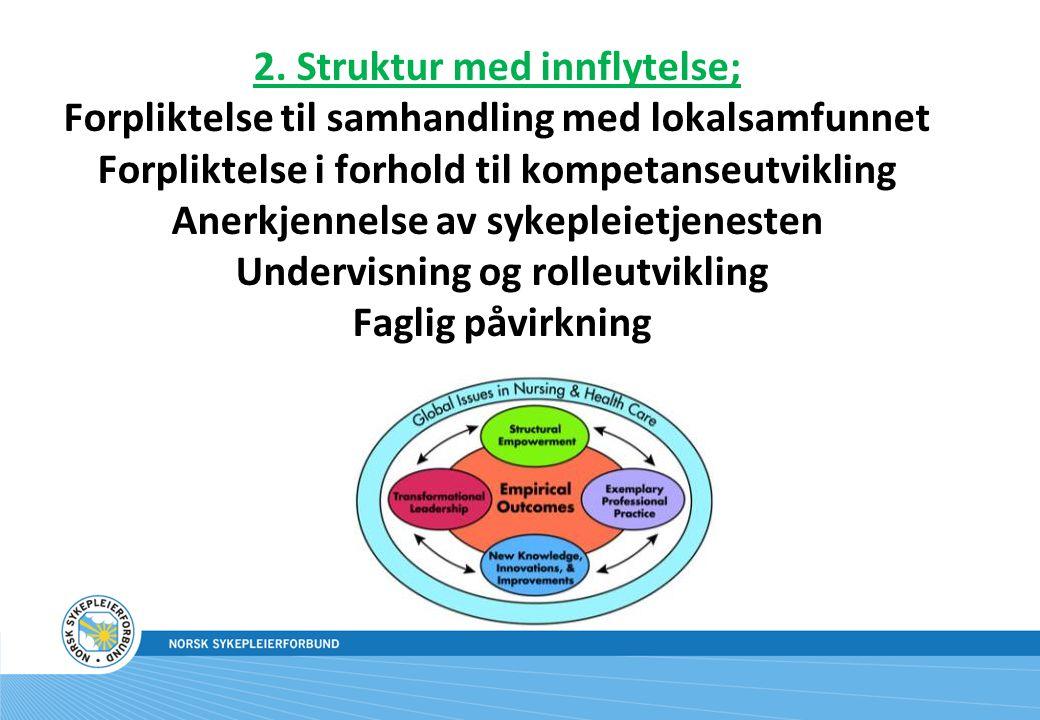 2. Struktur med innflytelse; Forpliktelse til samhandling med lokalsamfunnet Forpliktelse i forhold til kompetanseutvikling Anerkjennelse av sykepleie