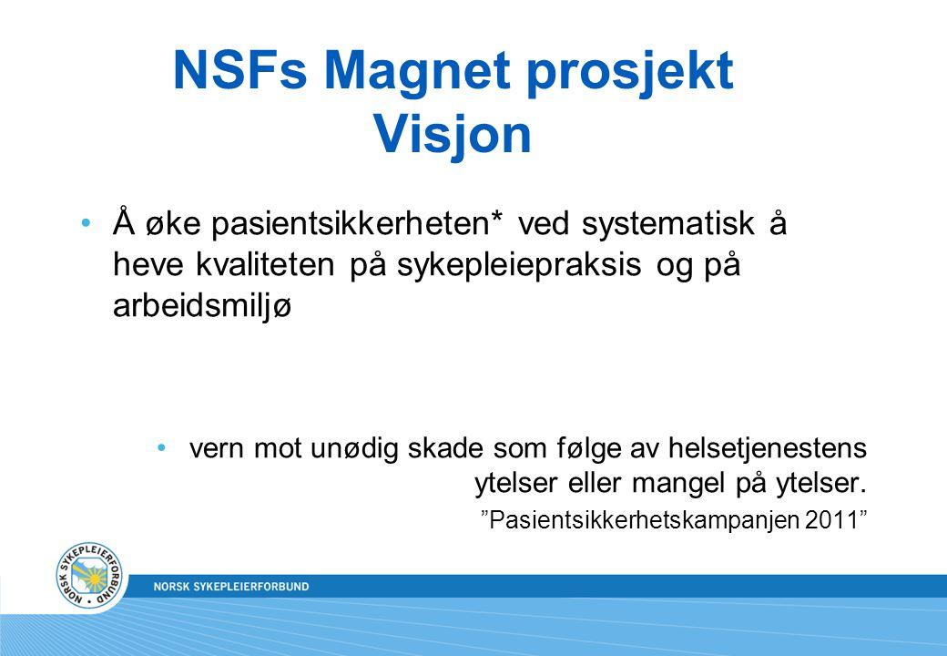 NSFs Magnet prosjekt Visjon •Å øke pasientsikkerheten* ved systematisk å heve kvaliteten på sykepleiepraksis og på arbeidsmiljø •vern mot unødig skade som følge av helsetjenestens ytelser eller mangel på ytelser.