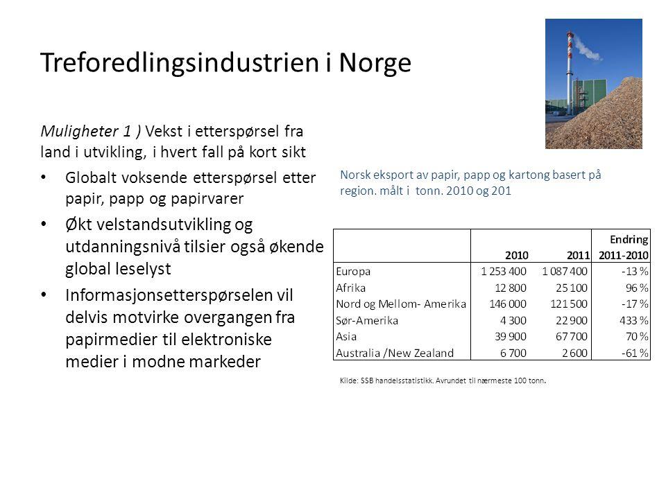 Treforedlingsindustrien i Norge Muligheter 1 ) Vekst i etterspørsel fra land i utvikling, i hvert fall på kort sikt • Globalt voksende etterspørsel et