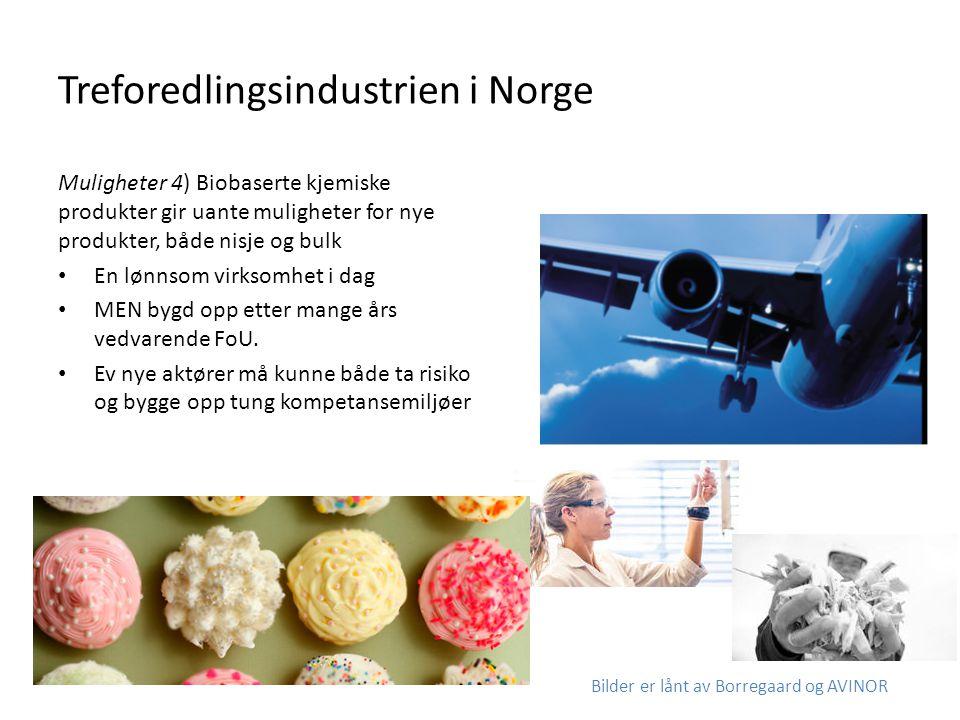 Treforedlingsindustrien i Norge Muligheter 4) Biobaserte kjemiske produkter gir uante muligheter for nye produkter, både nisje og bulk • En lønnsom vi