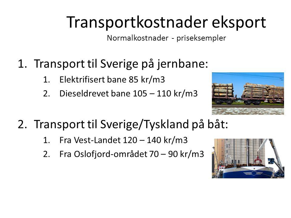 Transportkostnader eksport Normalkostnader - priseksempler 1.Transport til Sverige på jernbane: 1.Elektrifisert bane 85 kr/m3 2.Dieseldrevet bane 105