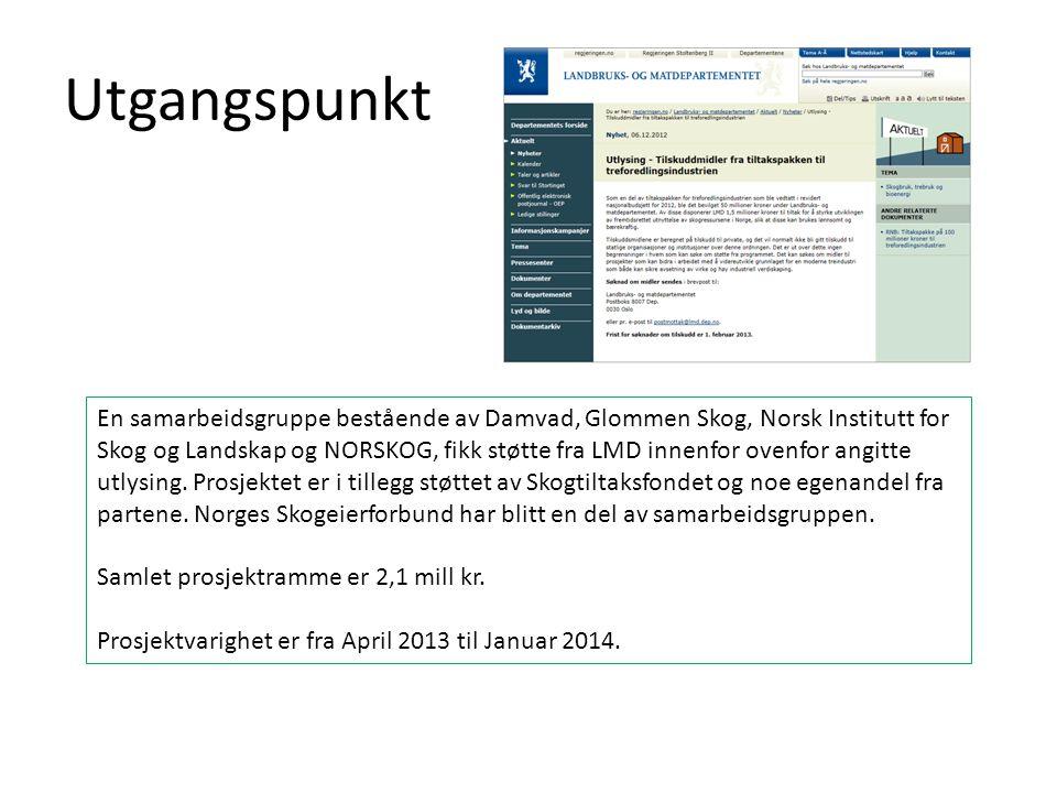Utgangspunkt En samarbeidsgruppe bestående av Damvad, Glommen Skog, Norsk Institutt for Skog og Landskap og NORSKOG, fikk støtte fra LMD innenfor oven