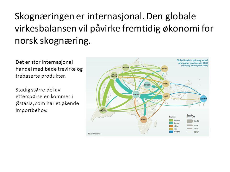 Skognæringen er internasjonal. Den globale virkesbalansen vil påvirke fremtidig økonomi for norsk skognæring. Det er stor internasjonal handel med båd