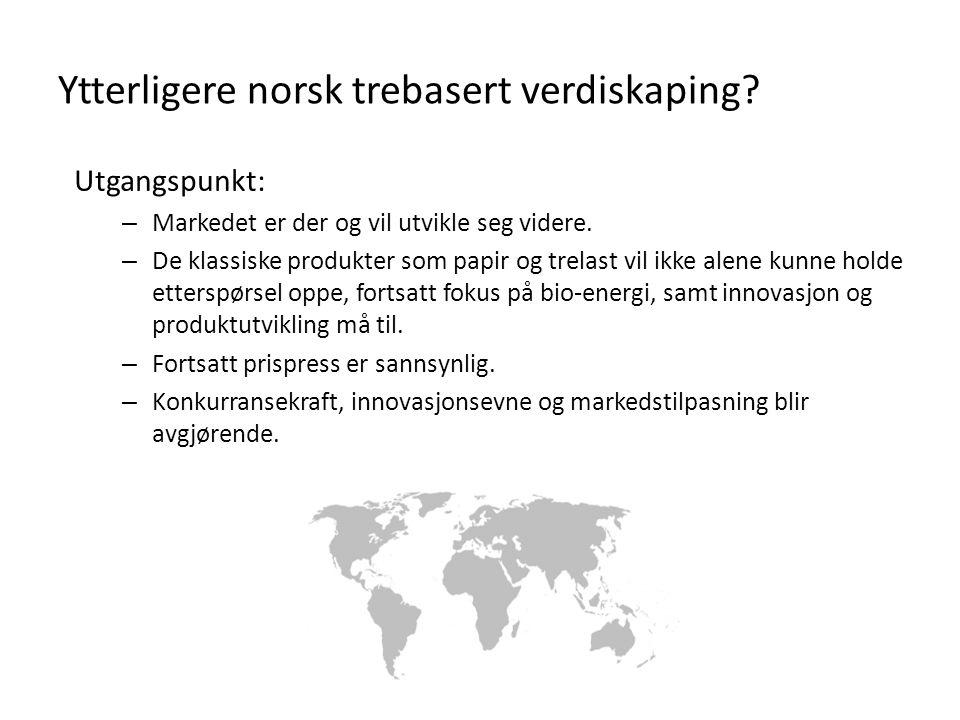 Ytterligere norsk trebasert verdiskaping? Utgangspunkt: – Markedet er der og vil utvikle seg videre. – De klassiske produkter som papir og trelast vil
