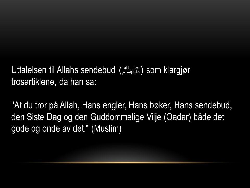 Uttalelsen til Allahs sendebud ( ﷺ ) som klargjør trosartiklene, da han sa: At du tror på Allah, Hans engler, Hans bøker, Hans sendebud, den Siste Dag og den Guddommelige Vilje (Qadar) både det gode og onde av det. (Muslim)