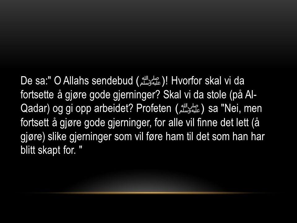 De sa: O Allahs sendebud ( ﷺ ). Hvorfor skal vi da fortsette å gjøre gode gjerninger.