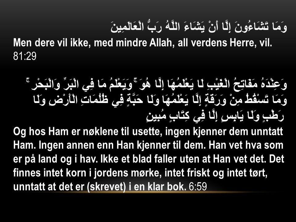 وَمَا تَشَاءُونَ إِلَّا أَنْ يَشَاءَ اللَّهُ رَبُّ الْعَالَمِينَ Men dere vil ikke, med mindre Allah, all verdens Herre, vil.